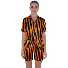 Skin4 Black Marble & Fire Satin Short Sleeve Pyjamas Set