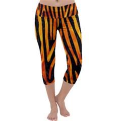 Skin4 Black Marble & Fire (r) Capri Yoga Leggings