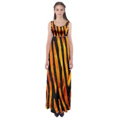 Skin4 Black Marble & Fire (r) Empire Waist Maxi Dress