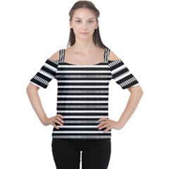 Tribal Stripes Black White Cutout Shoulder Tee