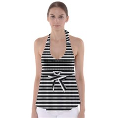 Tribal Stripes Black White Babydoll Tankini Top