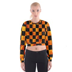 Square1 Black Marble & Fire Cropped Sweatshirt