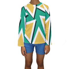 Triangles Texture Shape Art Green Yellow Kids  Long Sleeve Swimwear