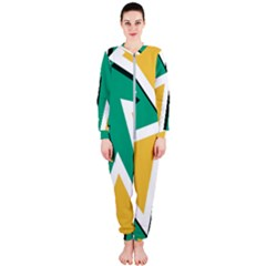 Triangles Texture Shape Art Green Yellow Onepiece Jumpsuit (ladies)