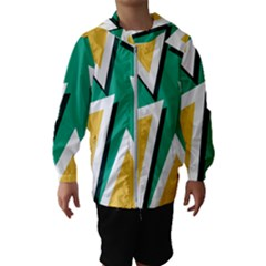 Triangles Texture Shape Art Green Yellow Hooded Wind Breaker (kids)
