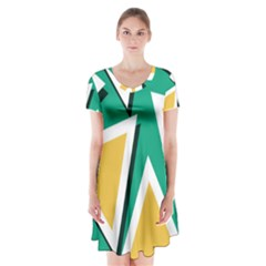 Triangles Texture Shape Art Green Yellow Short Sleeve V Neck Flare Dress