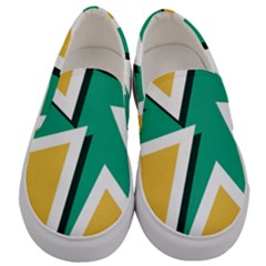 Triangles Texture Shape Art Green Yellow Men s Canvas Slip Ons