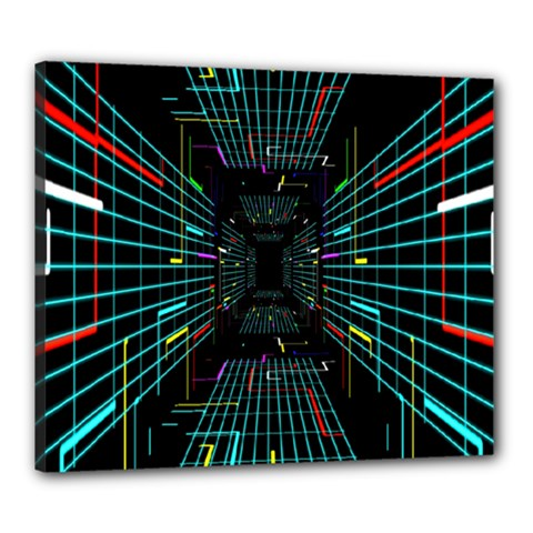 Seamless 3d Animation Digital Futuristic Tunnel Path Color Changing Geometric Electrical Line Zoomin Canvas 24  X 20