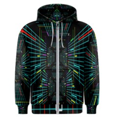 Seamless 3d Animation Digital Futuristic Tunnel Path Color Changing Geometric Electrical Line Zoomin Men s Zipper Hoodie