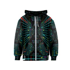 Seamless 3d Animation Digital Futuristic Tunnel Path Color Changing Geometric Electrical Line Zoomin Kids  Zipper Hoodie
