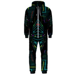Seamless 3d Animation Digital Futuristic Tunnel Path Color Changing Geometric Electrical Line Zoomin Hooded Jumpsuit (men)