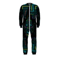 Seamless 3d Animation Digital Futuristic Tunnel Path Color Changing Geometric Electrical Line Zoomin Onepiece Jumpsuit (kids)