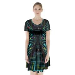 Seamless 3d Animation Digital Futuristic Tunnel Path Color Changing Geometric Electrical Line Zoomin Short Sleeve V Neck Flare Dress