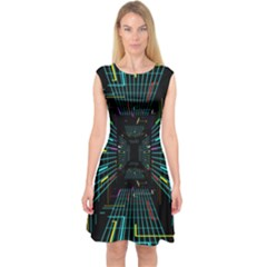 Seamless 3d Animation Digital Futuristic Tunnel Path Color Changing Geometric Electrical Line Zoomin Capsleeve Midi Dress
