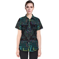 Seamless 3d Animation Digital Futuristic Tunnel Path Color Changing Geometric Electrical Line Zoomin Women s Short Sleeve Shirt