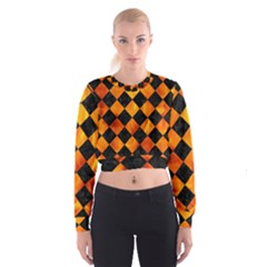 Square2 Black Marble & Fire Cropped Sweatshirt