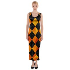 Square2 Black Marble & Fire Fitted Maxi Dress