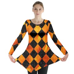 Square2 Black Marble & Fire Long Sleeve Tunic