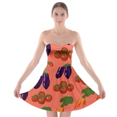 Vegetable Carrot Tomato Pumpkin Eggplant Strapless Bra Top Dress