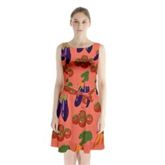 Vegetable Carrot Tomato Pumpkin Eggplant Sleeveless Waist Tie Chiffon Dress