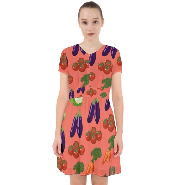Vegetable Carrot Tomato Pumpkin Eggplant Adorable in Chiffon Dress