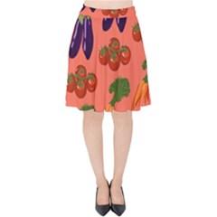 Vegetable Carrot Tomato Pumpkin Eggplant Velvet High Waist Skirt