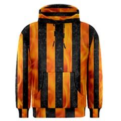 Stripes1 Black Marble & Fire Men s Pullover Hoodie