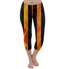 Stripes1 Black Marble & Fire Capri Winter Leggings