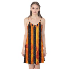 Stripes1 Black Marble & Fire Camis Nightgown