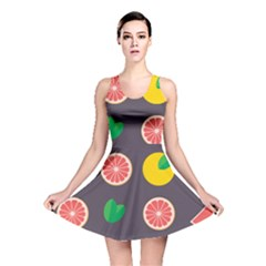 Wild Textures Grapefruits Pattern Lime Orange Reversible Skater Dress