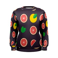 Wild Textures Grapefruits Pattern Lime Orange Women s Sweatshirt