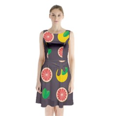 Wild Textures Grapefruits Pattern Lime Orange Sleeveless Waist Tie Chiffon Dress