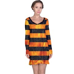 Stripes2 Black Marble & Fire Long Sleeve Nightdress