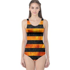 Stripes2 Black Marble & Fire One Piece Swimsuit
