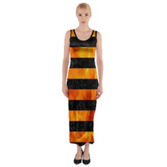Stripes2 Black Marble & Fire Fitted Maxi Dress