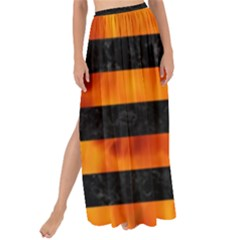 Stripes2 Black Marble & Fire Maxi Chiffon Tie Up Sarong