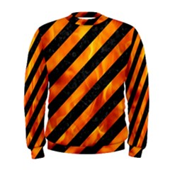 Stripes3 Black Marble & Fire Men s Sweatshirt