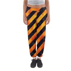 Stripes3 Black Marble & Fire Women s Jogger Sweatpants