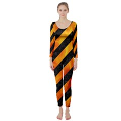 Stripes3 Black Marble & Fire Long Sleeve Catsuit