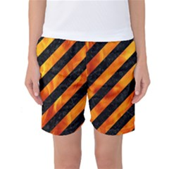 Stripes3 Black Marble & Fire Women s Basketball Shorts