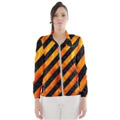 Stripes3 Black Marble & Fire Wind Breaker (women)