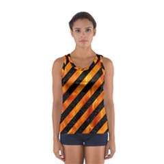 Stripes3 Black Marble & Fire Sport Tank Top