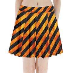 Stripes3 Black Marble & Fire Pleated Mini Skirt