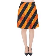 Stripes3 Black Marble & Fire Velvet High Waist Skirt