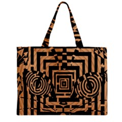 Wooden Cat Face Line Arrow Mask Plaid Zipper Mini Tote Bag
