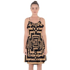 Wooden Cat Face Line Arrow Mask Plaid Ruffle Detail Chiffon Dress