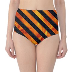 Stripes3 Black Marble & Fire (r) High Waist Bikini Bottoms