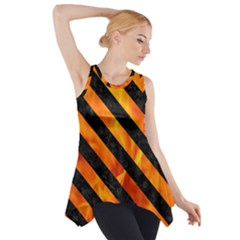 Stripes3 Black Marble & Fire (r) Side Drop Tank Tunic