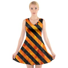 Stripes3 Black Marble & Fire (r) V Neck Sleeveless Skater Dress