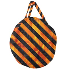 Stripes3 Black Marble & Fire (r) Giant Round Zipper Tote
